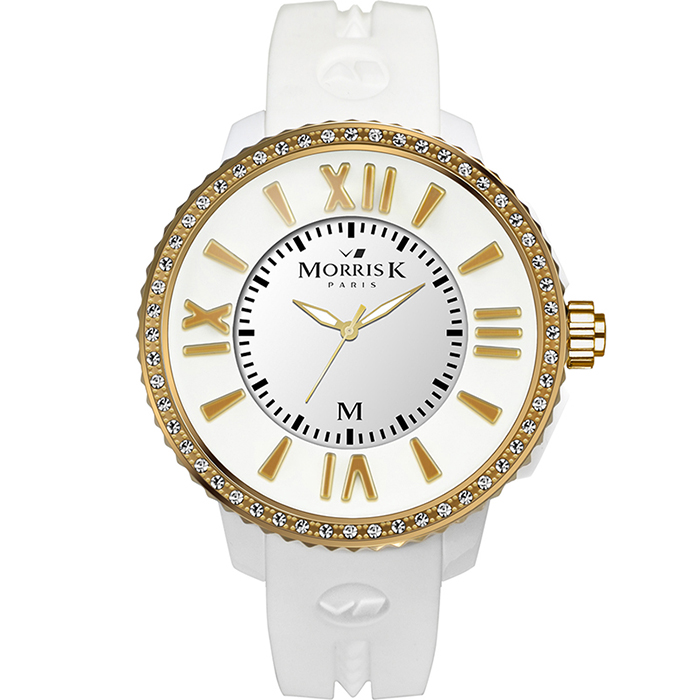 《MORRIS K》 「獨一無二」晶鑽限量錶款MK11185-DM104(白+金框/40mm)