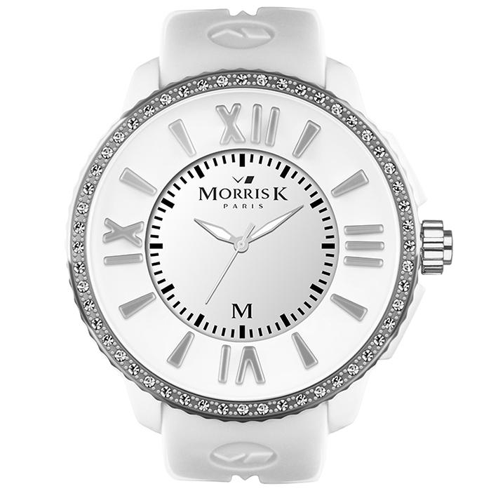 《MORRIS K》 「獨一無二」晶鑽限量錶款MK11305-DM04 (白/50mm)