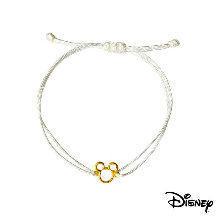 【預購】Disney迪士尼系列金飾 黃金/中國繩手鍊-經典米奇款白色
