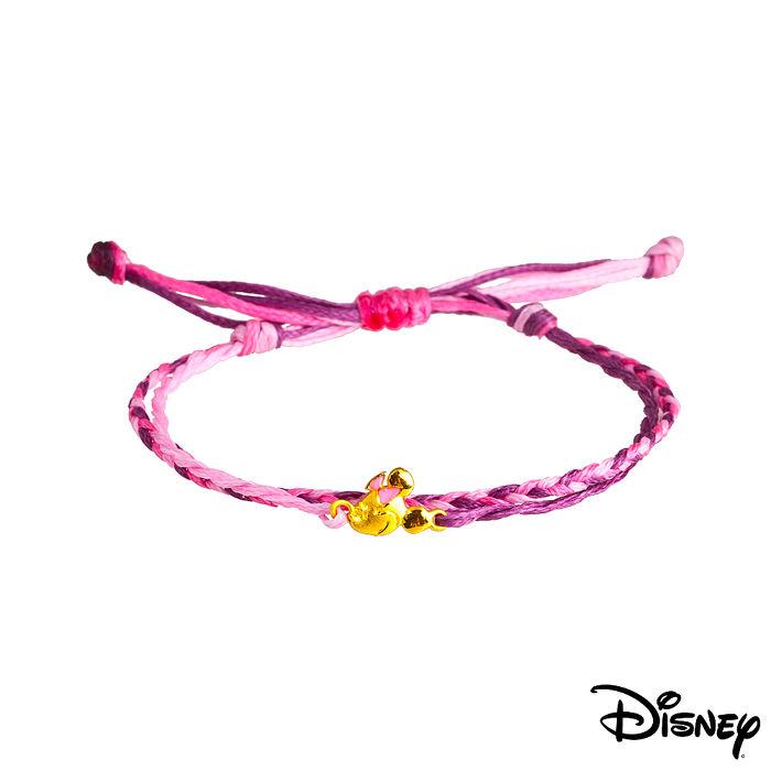 【預購】Disney迪士尼系列金飾 黃金/彩色蠟繩手鍊-俏麗美妮款粉紫色