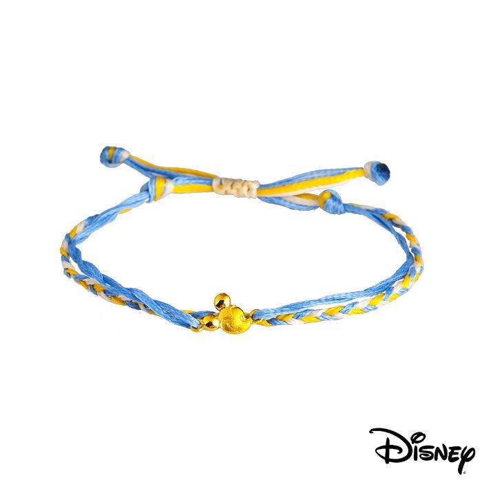 【預購】Disney迪士尼系列金飾 黃金/彩色蠟繩手鍊-樂觀米奇款藍白色