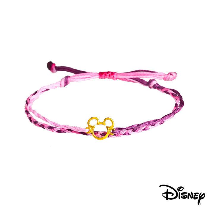 【預購】Disney迪士尼系列金飾 黃金/彩色蠟繩手鍊-經典米奇款粉紫色