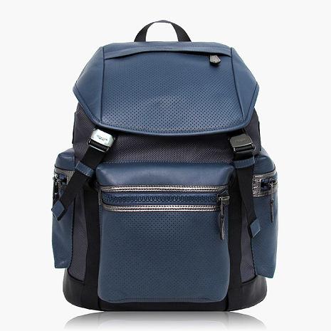 【COACH旅行必備】皮革 / 背包 / 後背包 藍灰色