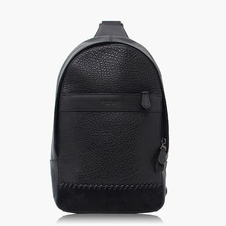 【COACH旅行必備】卵石皮革 / 背包 / 後背包 黑色