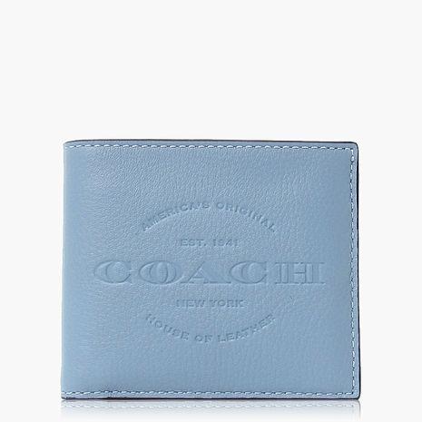 【COACH男仕必備】皮革 / 多功能短夾 天空藍