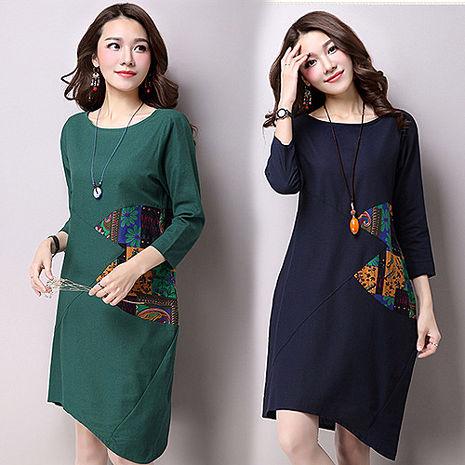 【韓國K.W.】 M~XL限量復古民族風撞色寬鬆長袖棉麻印花洋裝(預購)綠L