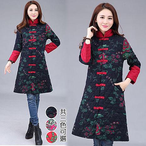【韓國K.W.】M~XL限量中國焦點美人彩繪風顯瘦版型鋪棉外套(預購)玫紅M
