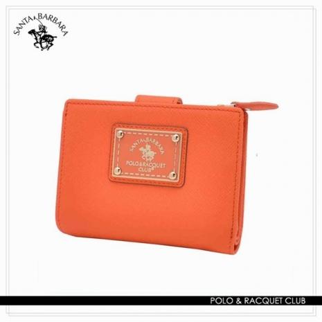 SANTA BARBARA POLO - 幸福微糖系列 釦式拉鍊雙層短夾-香橙橘 SB58-03009