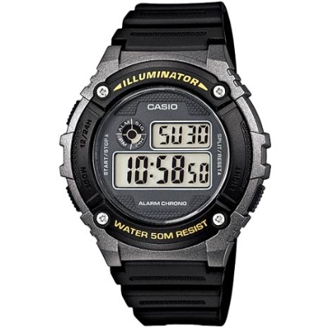 CASIO 競速電小子休閒數字錶(黃字黑框) W-216H-1B
