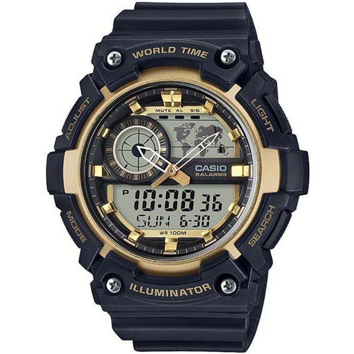 CASIO 世界地圖雙顯多功能腕錶-金(AEQ-200W-9A)