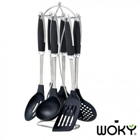 WOKY沃廚-不沾鍋專用不鏽鋼尼龍七件組