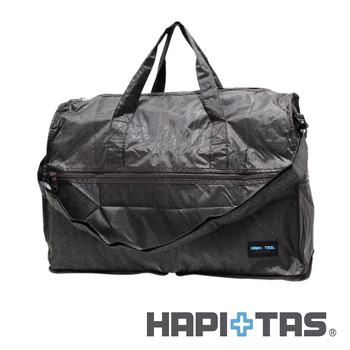 日本暢銷【HAPI+TAS 】男版咖啡千島紋  高級摺疊 防潑水 摺疊圓形旅行袋 (小) 可登機 旅行 搭配拉桿使用