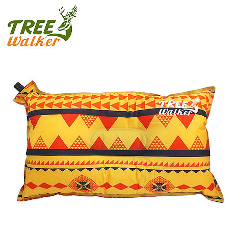 Tree Walker 花漾舒適自動充氣枕 圖騰黃