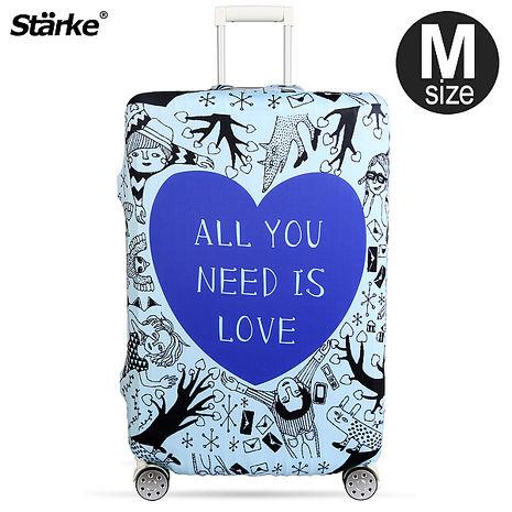Starke 高彈性行李箱套-藍色愛心 適用23-26吋
