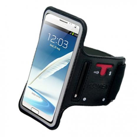 【KAMEN】SAMSUNG 手機系列專用《運動臂套/手腕套》(大尺寸:可支援6吋手機)【贈:日本平川涼感領巾】黑色-5.5吋