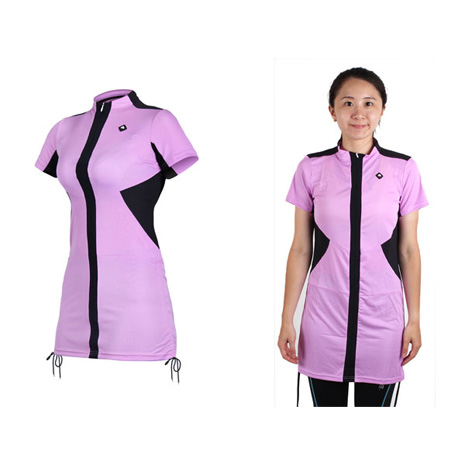 【SOGK】女伊奧文連身裙-短袖車衣 單車 自行車 淺紫L