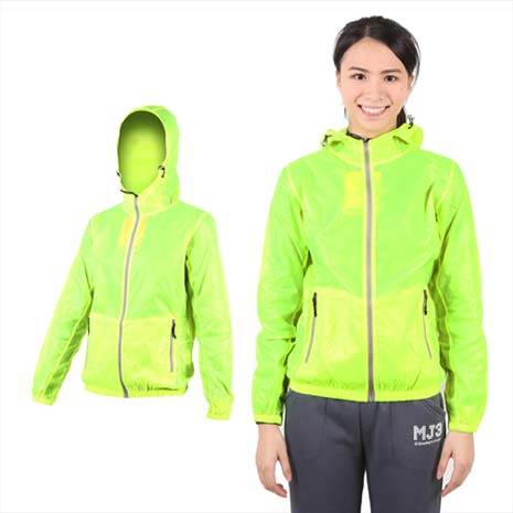 【SOFO】女果凍連帽外套-抗UV 風衣 可收納 螢光綠XL