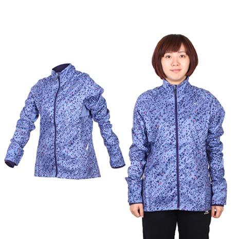 【PUMA】女滿版印花立領風衣外套- 慢跑 路跑 防風 紫紅S