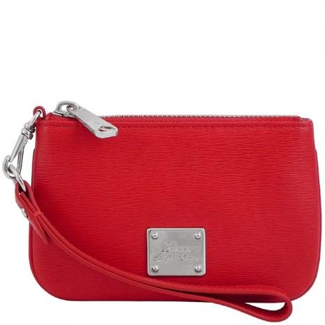 RALPH LAUREN 紅色皮革壓紋手拿包