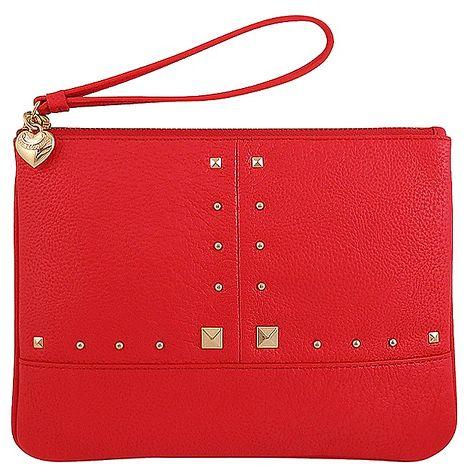 JUICY COUTURE 皮革壓紋手拿包-大型(紅色)