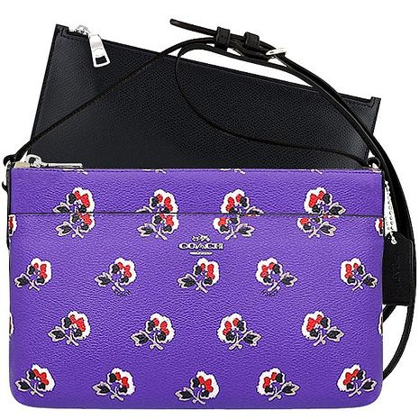 COACH 馬車花朵圖樣PVC斜背包/附可拆長夾-紫色