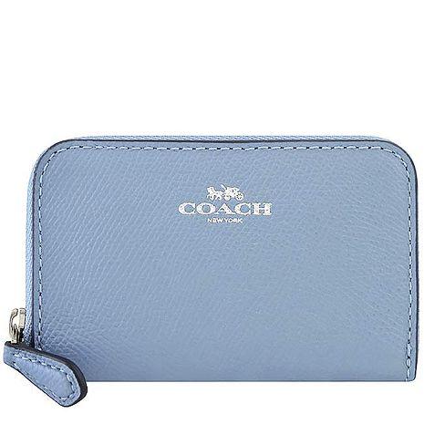 COACH 防刮皮革拉鍊名片夾/零錢包-粉藍色