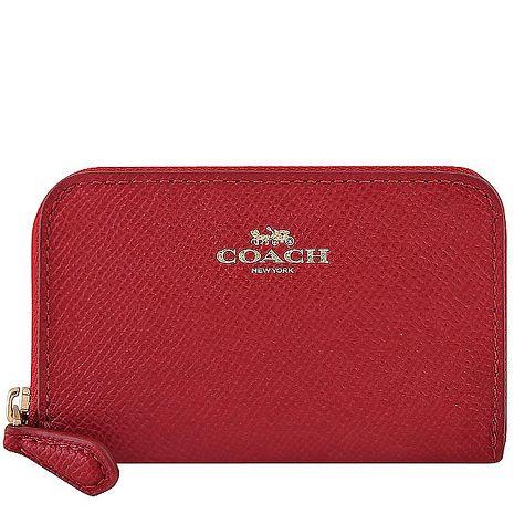 COACH 防刮皮革拉鍊名片夾/零錢包-紅色