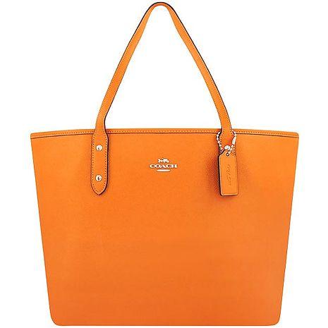 COACH 防刮皮革托特包/大型-橙黃色