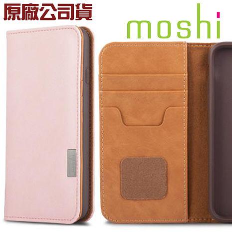 {原廠公司貨}Moshi Overture for iPhone 8 / 7 Plus 側開卡夾型保護套雛菊粉