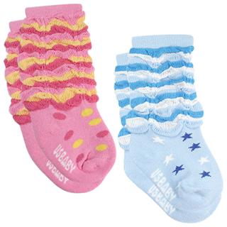 任【優生】喜羊羊條紋泡泡初生/止滑襪11-13公分(藍)