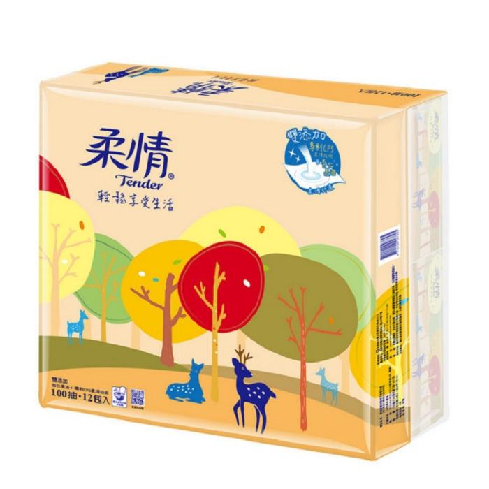 柔情 抽取式衛生紙-杏仁果油添加100抽*12包*7袋