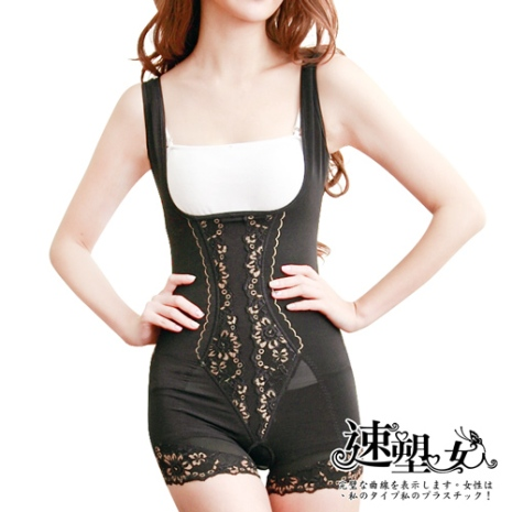 【速塑女人】480D奈米竹炭高機能平腹翹臀連身塑身衣(短版)XL