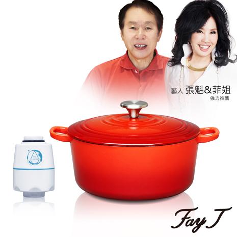 【Fay菲姐】頂級鑄鐵琺瑯鍋/圓形鍋24CM (SMA24) 送微淨能(水洗王)環保去油洗淨器藍色