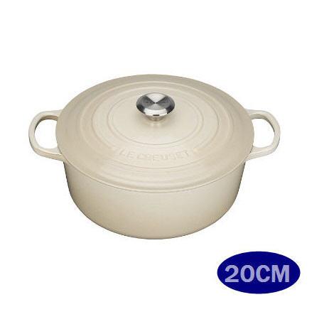 LE CREUSET 鑄鐵圓鍋 20cm (新款大耳)奶油白 (鋼頭)-APP