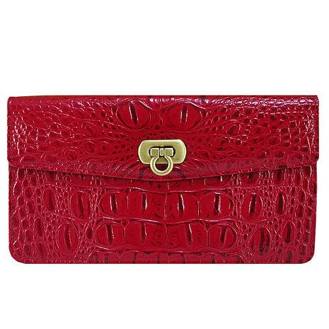 Sika義大利時尚真皮鱷魚紋扣式長夾S8279-04魅惑紅
