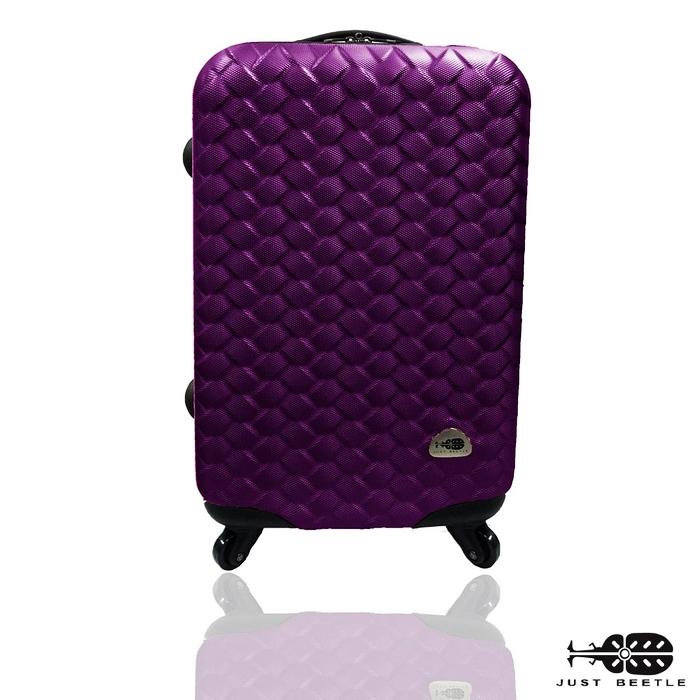 旅行箱 行李箱Just Beetle 編織風情系列(28吋)ABS材質霧面輕硬殼 登機箱 拉桿箱螢光粉