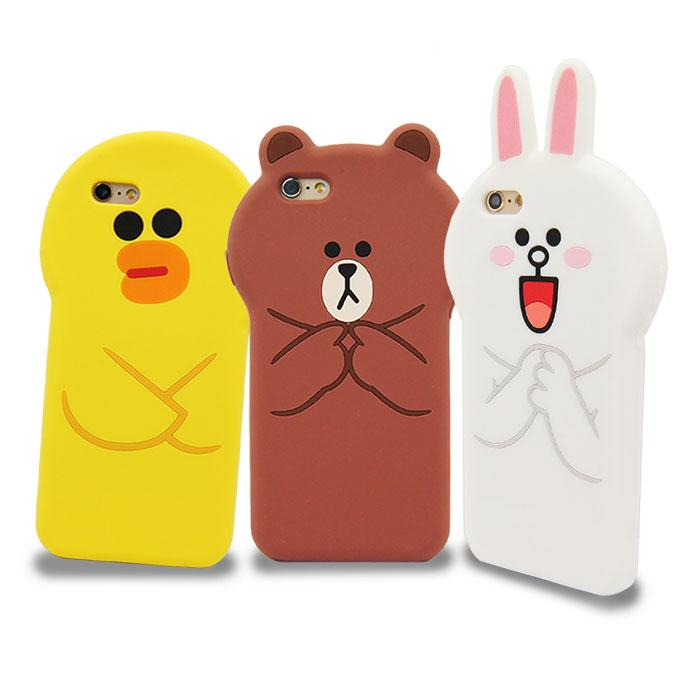 LINE原廠 - APPLE iPhone 6s/6 Plus 立體滴膠造型保護套兔兔