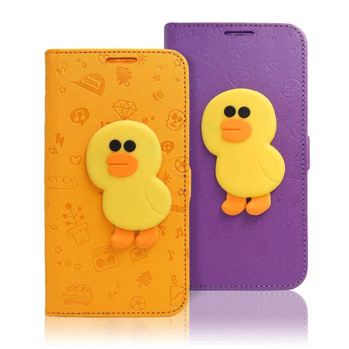 LINE原廠-Samsung Galaxy Note5 莎莉磁吸公仔立架側掀皮套紫