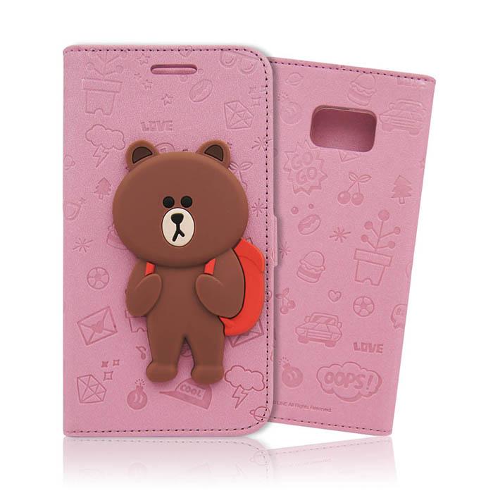 LINE原廠-Samsung Galaxy Note5 背包熊大磁吸公仔立架側掀皮套