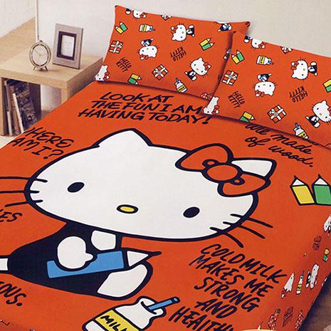 【Hello Kitty】 凱蒂貓 刷毛單人床包兩件組 (我的筆記本)