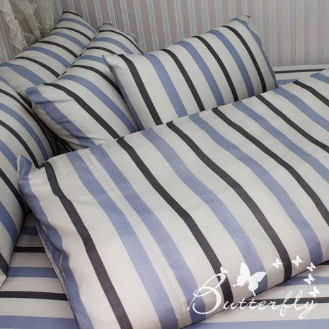 【BUTTERFLY】 休閒條紋-藍  單人三件式被套床包組