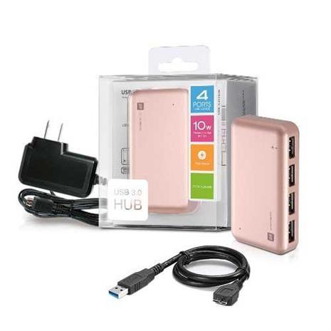 PROBOX 超速USB3.0 4埠 HUB集線器-玫瑰金(含電源轉換器)