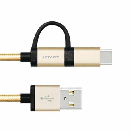 JETART TYPE-C + Micro USB 傳輸線 150cm CAC4400 金