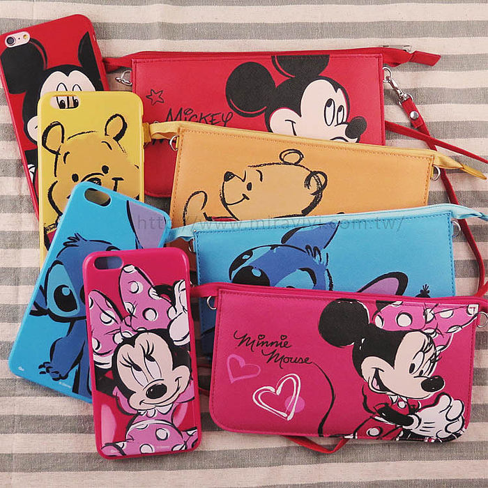 【Disney】迪士尼iPhone6 / 6S Plus彩繪保護軟套+手機袋禮盒組-大臉系列6/6SPlus小熊維尼