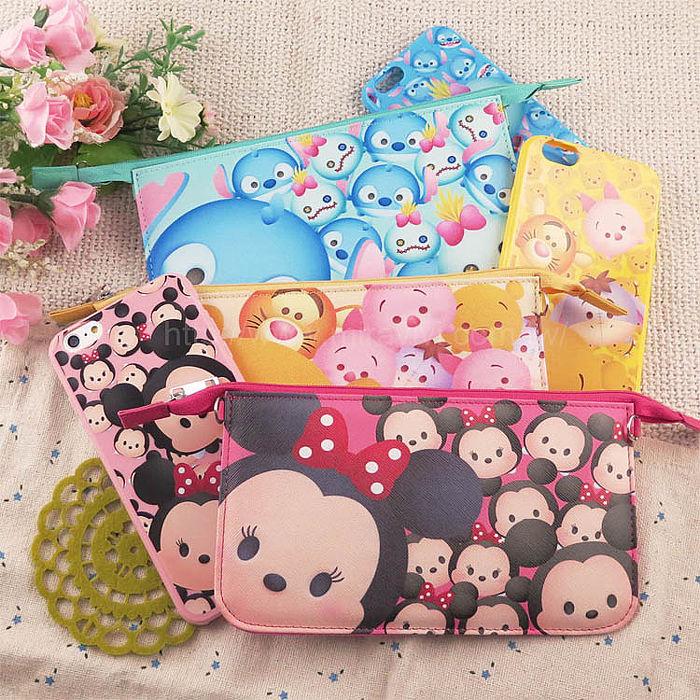 【Disney】迪士尼iPhone6 / 6S彩繪4.7保護軟套+手機袋禮盒組-Tsum Tsum系列6.6S-小熊維尼