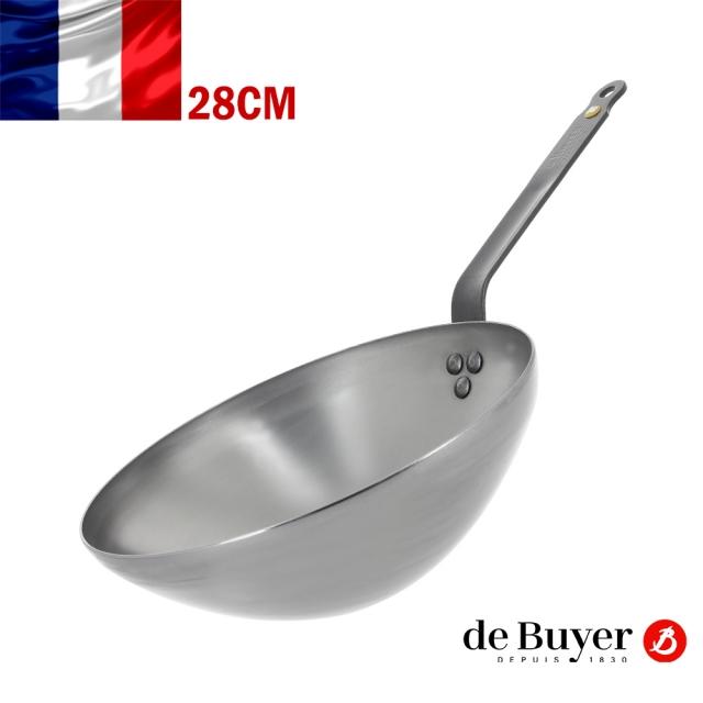 法國【de Buyer】畢耶鍋具『原礦蜂蠟系列』單柄中華鐵炒鍋28cm