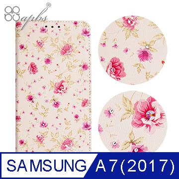 apbs Samsung Galaxy A7(2017) 施華洛世奇水晶鑽皮套-月季花