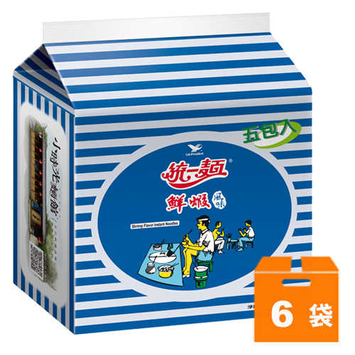 統一麵鮮蝦風味83g(5入)x6袋/箱【康鄰超市】