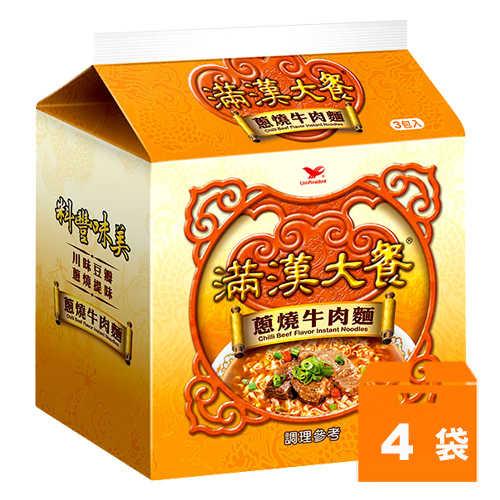 統一滿漢大餐蔥燒牛肉麵187g(3包入)x4袋/箱
