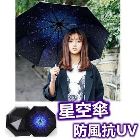 全新二代星空傘 100%不透光抗UV 防紫外線 太陽傘 黑膠折疊晴雨傘 遮陽 防曬【RS481】